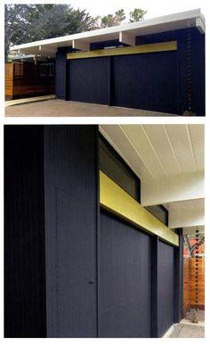 exterior colors: dark navy blue house with chartreuse/pale avocado green accent and white beams/fascia