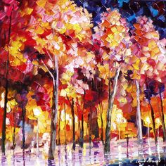 """LEONID AFREMOV TREES-IN-PINK— PALETTE KNIFE Oil Painting On Canvas By Leonid Afremov - Size 24""""W x 24""""H"""