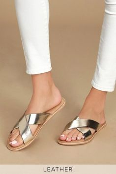 The Coconuts by Matisse Pebble Gold Leather Slide Sandals are the perfect statement shoes to finish your look! Sneakers Fashion, Fashion Shoes, Women's Fashion, Pretty Sandals, Leather Sandals Flat, Gold Flat Sandals, Gold Heels, Flat Shoes, How To Make Shoes
