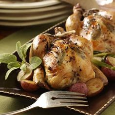 Herb-Stuffed Roasted Cornish Hens Recipe from Taste of Home