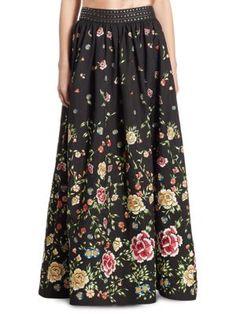 Alice + Olivia - Tina Studded Embroidered Ball Skirt