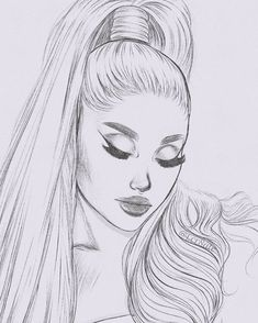 tell me how good it feels to be needed. Girl Drawing Sketches, Portrait Sketches, Art Drawings Sketches Simple, Pencil Art Drawings, Hard Drawings, Girly Drawings, Cool Drawings, Portrait Au Crayon, Ariana Grande Drawings