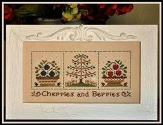 Cherries And Berries: A Cross Stitch Chart by Country Cottage Needleworks Cross Stitch Samplers, Cross Stitch Kits, Counted Cross Stitch Patterns, Cross Stitch Charts, Cross Stitching, Cross Stitch Embroidery, Country Cottage Needleworks, Small Cross Stitch, Couture
