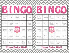30 Baby Shower Bingo Cards - DIY Printable Party for Baby Girl - Instant Download - Pink Owl Gray Chevron Baby Shower Gift Bingo on Etsy, $3.50