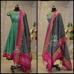 TS-DS- 404AvailableFor orders/queriesCall/ whatu2019s app us on8341382382 orMail us tejasarees@yahoo.com LikeNeverBefore Tejasarees Newdesigns icreate dresses tejaethnicstudio hyd ikkat duppatas pattu traditional tejupavuluriStay Amazed!!Team Teja!! 08 February 2017 Salwar Designs, Kurta Designs Women, Blouse Designs, Indian Attire, Indian Outfits, Western Outfits, Ikkat Dresses, Indian Party Wear, Indian Wear