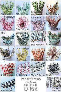 colored straws - the baby blue one looks pretty turquoise! we could get some orange or brown to compliment the blue!