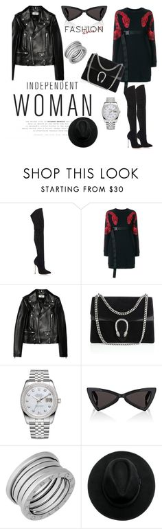 """""""Black & Red"""" by elenzark ❤ liked on Polyvore featuring Casadei, County Of Milan, Yves Saint Laurent, Gucci, Rolex and Bulgari"""