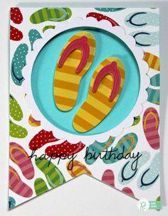 Flip Flops Banner Shaped Birthday Card *Pebbles*