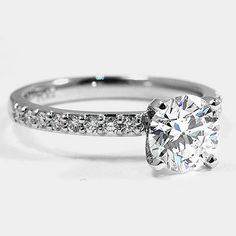 Platinum Petite Shared Prong Diamond Ring // Set with a Carat, Round, Super Ideal Cut, G Color, Clarity Diamond Earth Rings, Diamond Girl, Thing 1, Ring Set, Brilliant Earth, Diamond Engagement Rings, Dream Wedding, Bling, Jewels