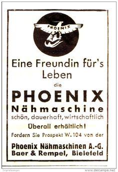 Original-Werbung/ Anzeige 1934 - PHOENIX NÄHMASCHINEN / BAER & REMPEL BIELEFELD - ca. 50 x 75 mm