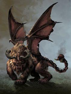 Manticora / Artwork by Stéphane Gantiez Dark Creatures, Mythical Creatures Art, Mythological Creatures, Weird Creatures, Magical Creatures, Fantasy Creatures, Monster Concept Art, Fantasy Monster, Monster Art