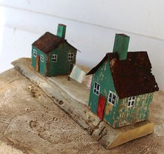 folk art mixed media 3 d little wooden houses with by fadedwest,