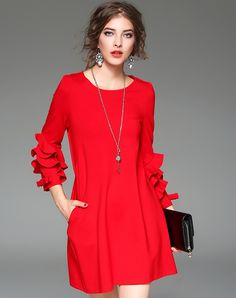 #AdoreWe #VIPme A-Line Dresses - YEARNSANE Red Flounce Sleeve A Line Mini Dress - AdoreWe.com