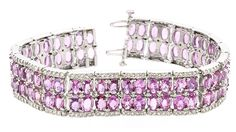 Bracelet (252) Diamonds 3.10ct.tw (84) Pink Sapphire 28.04ct.tw 14K