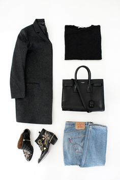Winter style // minimal grey coat, black sweater, Saint Laurent bag, vintage Levi's 501 jeans and studded Chloe boots.