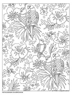 Birds And Flowers Coloring Page Textile Designs Book By Marjorie Sarnat Coloriage