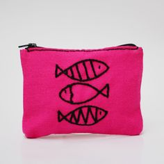 fish coin purse - pink color -  hand embroidery on linen - coin pouch - zipper pouch - gift for her by NIARMENA on Etsy https://www.etsy.com/listing/181971391/fish-coin-purse-pink-color-hand