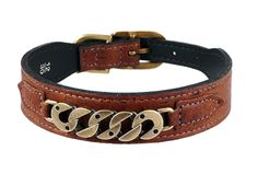 Cork Dog Collar in Burnt Umber with Chain Link Icon