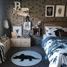 Classic Dino Wallpaper - Grey – Sian Zeng Source by clothing Boys Dinosaur Bedroom, Dinosaur Room Decor, Boy Toddler Bedroom, Big Boy Bedrooms, Boys Bedroom Decor, Toddler Rooms, Baby Boy Rooms, Bedroom Themes, Dinosaur Kids Room