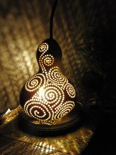 Waves of Light gourd lamp via Etsy