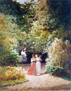 Jozef Szermentowski W parku(In the garden), 1873 Beautiful light in this painting Great Paintings, Portrait Paintings, Portraits, Anne Of Green Gables, Beautiful Lights, Our Lady, Rose Petals, Female Art, Amazing Art