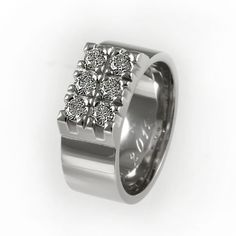 Wide diamond wedding band unique wedding ring by KorusDesign