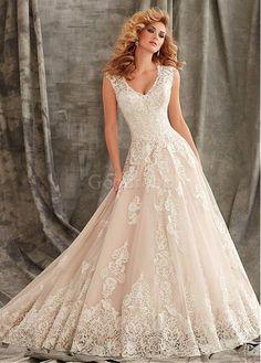Robe de mariée appliques traîne mi-longue décoration dentelle a-ligne - photo 1