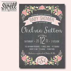 Pretty & Feminine Chalkboard Floral Pink Monogram Rustic Shabby Chic DIY Printable Baby or Bridal Shower Invitation 5x7 format - custom text on Etsy, $12.50