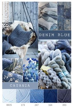 Hi ladies. I thought Mary's palette she used was really pretty so I found one in shades of blue, denim and grey. I hope you enjoy! Yarn Color Combinations, Colour Schemes, Color Trends, Pantone, Yarn Colors, Colours, Blue Colors, Stoff Design, Color Collage