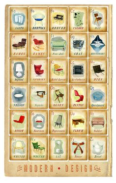 Modern Design Deck Poster - mid century modern icons - chairs - print - eames bertoia saarinen - father's day gift