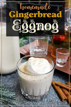A fun and easy recipe for a Gingerbread flavored Eggnog! If you've never made eggnog it can sound complicated, but it's not, just be careful not to scramble your eggs. :) This recipe can be made boozy right off the bat, or alcohol-free for the kiddos and let the adults mix in a shot of rum, brandy, or whiskey themselves. Get the recipe and instructions below!  #recipe #drink #cocktail #eggnog #gingerbread Eggnog Drinks, Yummy Drinks, Fancy Drinks, Coffee Drinks, Cocktails, Yummy Food, Winter Drinks, Holiday Drinks, Christmas Drinks