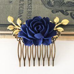 Dark Blue Wedding Comb Navy Blue Rose Hair Comb Gold Leaf Bridal Hair Comb Bridesmaids Hair Comb Wedding Hair Accessories