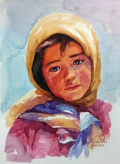 Watercolor Portrait of a child Reference from Pinterest