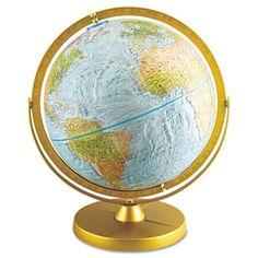 Advantus Corp. Physical and Political 12-Inch Globe, Metal Desktop Base