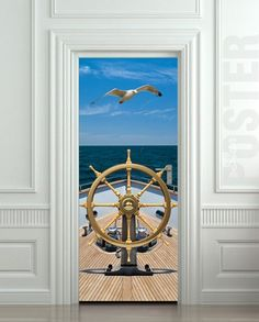 "Wall Door STICKER ship bow sea yacht gull rudder mural decole film poster 31x79""(80x200cm) 
