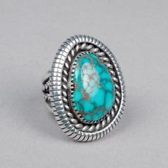 Silver and Turquoise Ring by Lee Yazzie, c. 1970