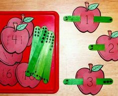 Crafts,Actvities and Worksheets for Preschool,Toddler and Kindergarten.Lots of worksheets and coloring pages. Preschool Apple Theme, Apple Activities, Numbers Preschool, Fall Preschool, Counting Activities, Kindergarten Classroom, Preschool Activities, Preschool Apples, Montessori Math