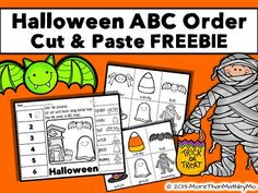 Halloween Sale and FREEBIES-This blog post features a new ABC Order Cut and Paste activity for Halloween.