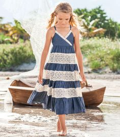chambray & lace dress - Chasing Fireflies