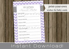 Baby Shower Wishes for Baby girl lavender by PrimoPrintables, $6.00