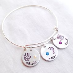 Hand stamped Expandable Charm Bracelet Silver plated Alex and customize custom personalized up to 3 charms birthstone hand print handprint
