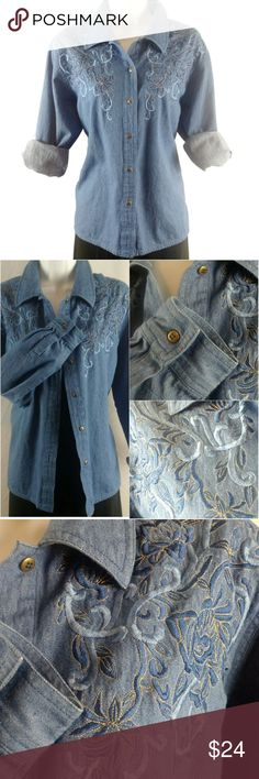 🌼chambray Button Down Shirt embroidery Western Beautifully embroidered and embellished with golden thread gives that casual but polished look. Soft, durable, and very comfortable. Measurements (in):  Bust (pit to pit): 20 Sleeves (pit to cuff): 17 Total length: 24    Ref: T01-15o Tops Button Down Shirts