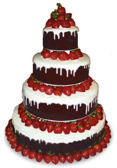tiered chocolate and strawberry cake - no recipe