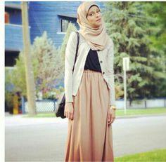 بيج Hijab maxi skirt