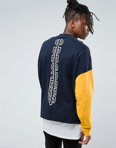 ASOS Oversized Sweatshirt With Cut & Sew Sleeve & Back Print - Navy