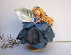Christmas Blue Angel, Ballerina Ornament, Blue Fairy Ornament, Flower Fairy Doll, Blue Rose Fairy, Winter Fairy by HarmonCraftStore on Etsy