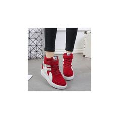 Platform Hidden-Heel High-Top Sneakers ($31) ❤ liked on Polyvore featuring shoes, sneakers, footware, platform shoes, high top trainers, platform sneakers, platform trainers and hi tops