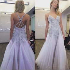 Crystals Evening Dresses Cross Back Spaghetti Tulle A-Line Floor Length 2016 Lilac Hayley Paige Prom Gowns Sparkly 2k16 Girl Occasion Wear