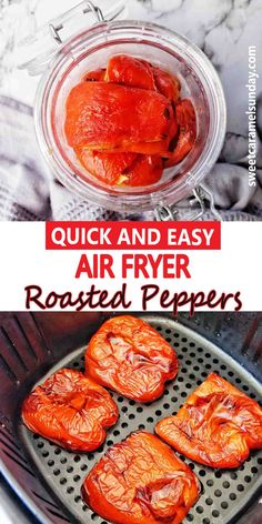 Air Fryer Roasted Peppers are quick, easy and delicious. For tasty roasted bell peppers to serve on pizza, pasta, salad or grilled cheese grab your Air Fryer and some bell peppers. #easyrecipes #airfryerrecipes @sweetcaramelsunday