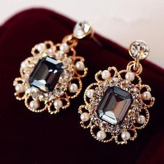 Earrings With Pearls Drop Earring Gold Plated Crystal